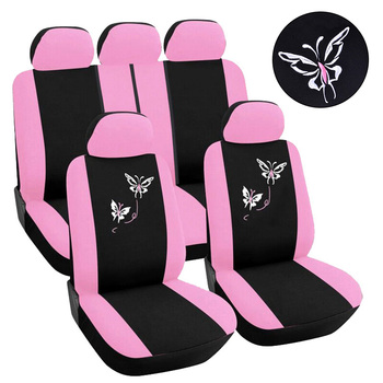 FLY5D 10pcs/ Set Pink butterfly car seat cover full Set Automobile Seat Protection Cover Vehicle Seat Covers Car Accessories