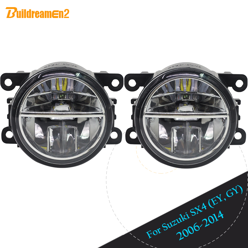 Buildreamen2 For 2006-2014 Suzuki SX4 (EY, GY) Car Styling LED Fog Light DRL Daytime Running Light 12V High Bright 2 Pieces cawanerl for 2006 2014 suzuki sx4 ey gy car styling led fog light lamp angel eye daytime running light drl 12v 2 pieces