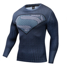 Superman 3d Tshirt Tight Compression Marvel Long Sleeve T-Shirt Cosplay Costume Men Tshirts S-4XL