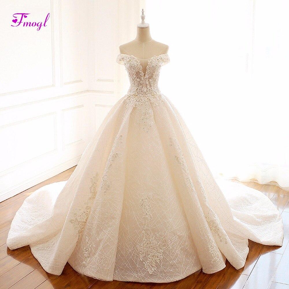 Fmogl Великолепные Аппликации овальным вырезом кружева принцесса свадебное платье 2018 нежный бисером-line Винтаж свадебное платье Vestido de Noiva