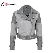 38d38c5a99d Conmoto патч из искусственной кожи и замши на молнии пальто Для женщин зима  2018 отложным воротником вниз пальто куртки Повседне..
