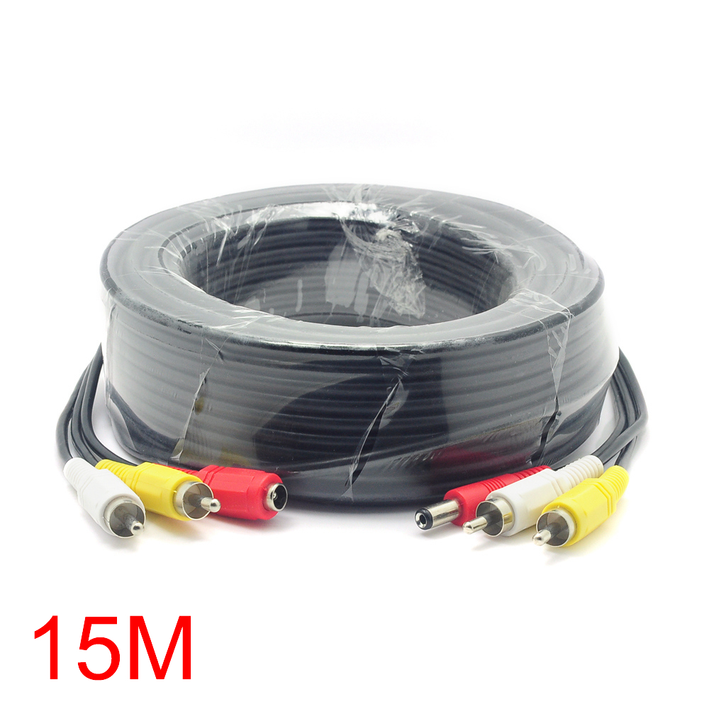 15M/49FT 2 RCA DC Connector Audio Video Power AV Cable All-In-One CCTV Wire