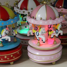 Bless Animated Classic 4 Horse Go Round Musical Carousels Box Gift Chritmas decor gift Free Shipping