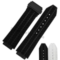 25*19mm Black White Silicone Rubber Watch Strap Belt Watchband For HUBLOT Watch with Logo Deployment Clasp Double Push Buckle