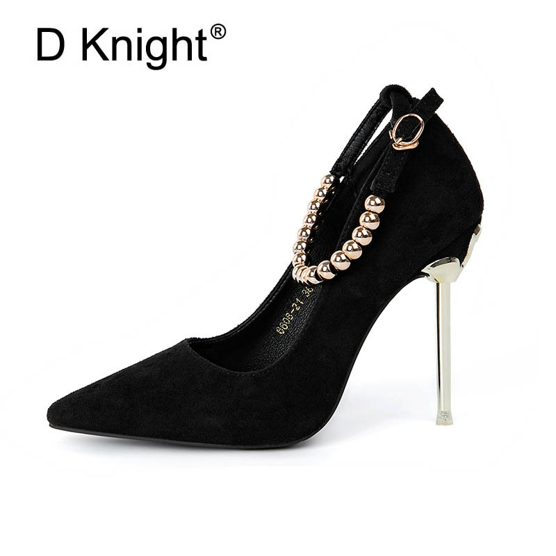 Fashion Women Pointed Toe High Heels Party Shoes Elgant String Beaded Ankle Strap Women Pumps Vintage Flock Metal Heel Stilettos wholesale lttl new spring summer high heels shoes stiletto heel flock pointed toe sandals fashion ankle straps women party shoes