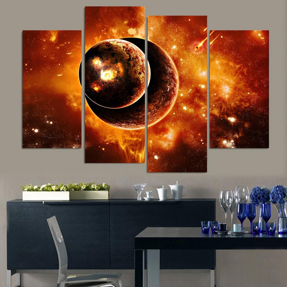 ᗚhd Baskılı Fantezi Evren Gezegen Boyama Tuval Baskı Odası Dekor