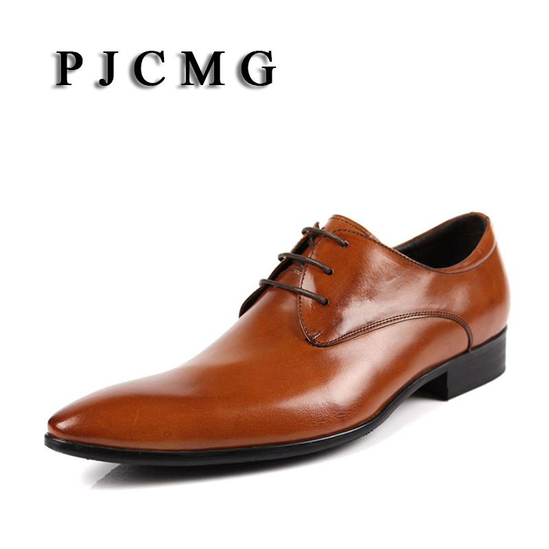 PJCMG Hot Sale Fashion High Quality Genuine Leather Men Oxfords Lace Up Business Oxford Breathable Dress