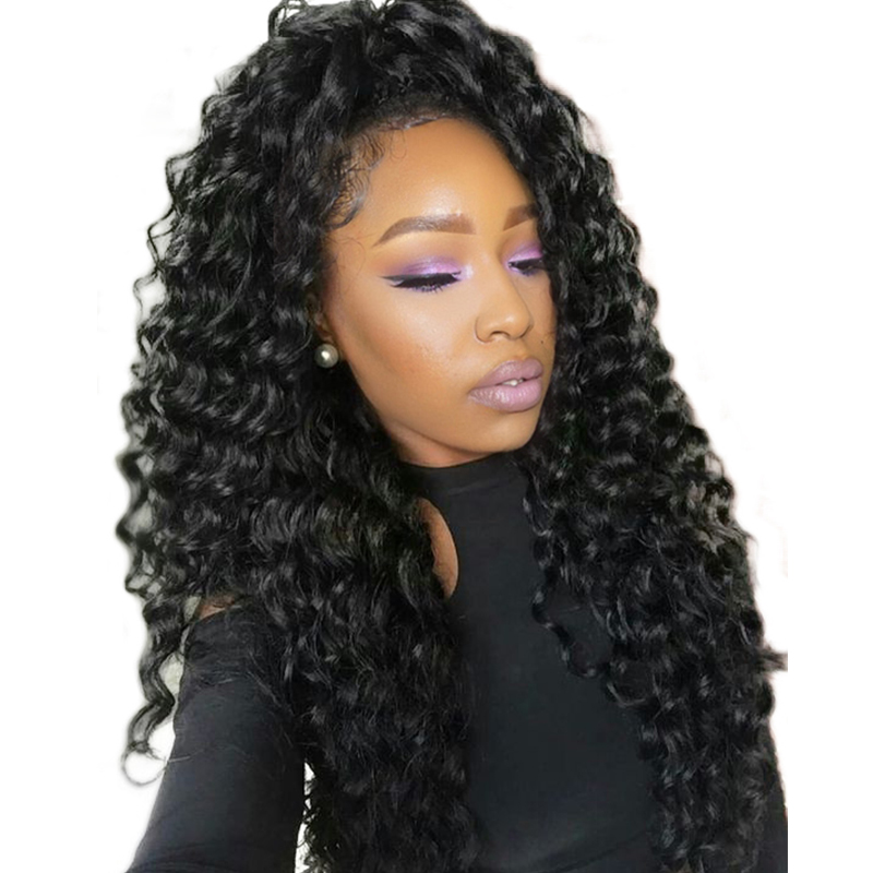 360 Lace Frontal Closure Pra Plucked With Baby Hair Deep Wave Frontal - Rambut manusia (untuk hitam) - Foto 1