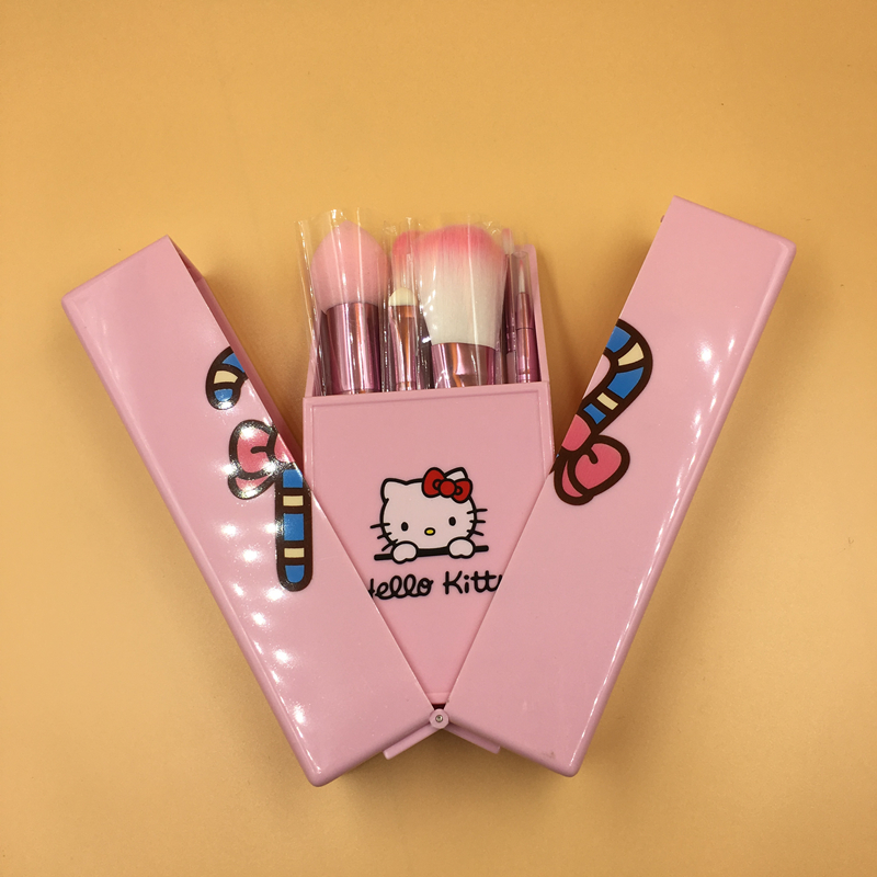 Teen Girls Cute Hello Kitty Makeup Brushes Set Pink Box 8pcs Make up Brush Kit Beauty Tools Maquiagem