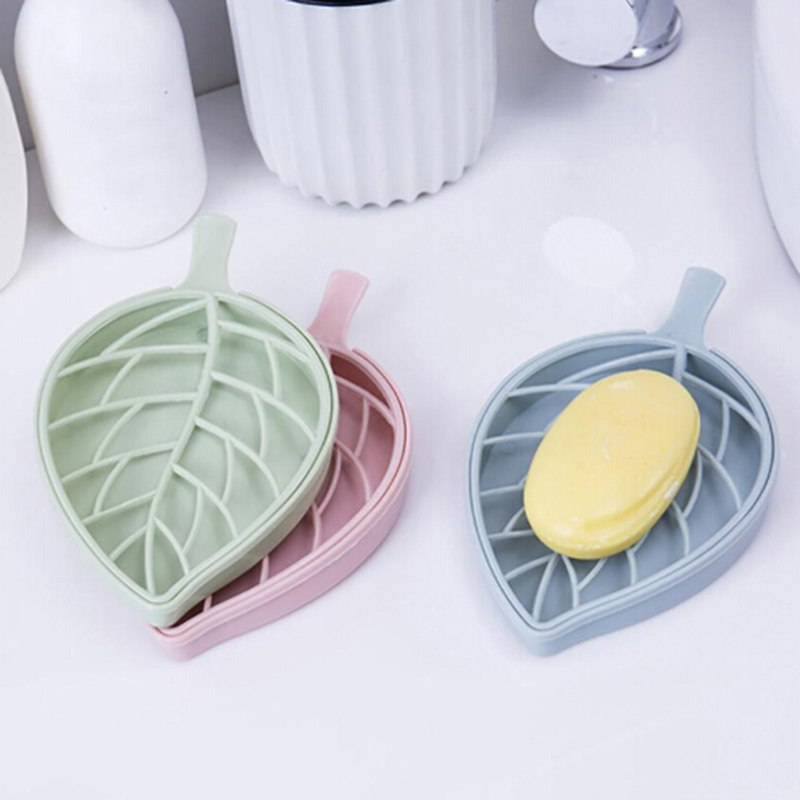 Leaf Shape Soap Box Shower Tray Hiking Bath House Container Candy Color Holder Travel New Soap Dish