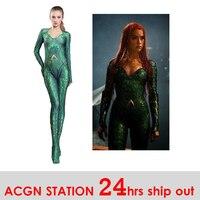 Aquaman Mera Costume Women Girls Amber Heard Queen of the Sea Mera Female Bodysuit Justice League DC Superhero Halloween Costume