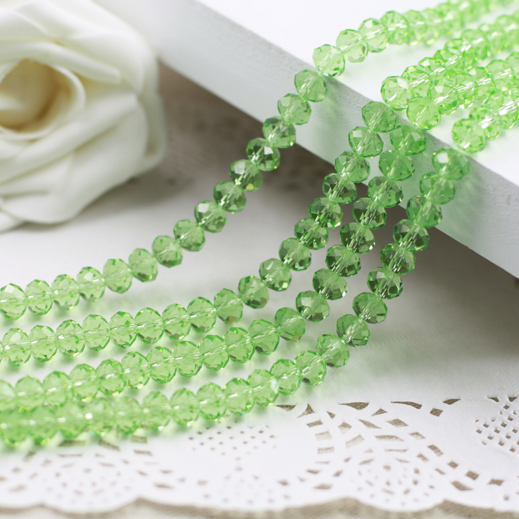 1500pcs AB light green glass crystal Faceted Rondelle loose bead 4mm