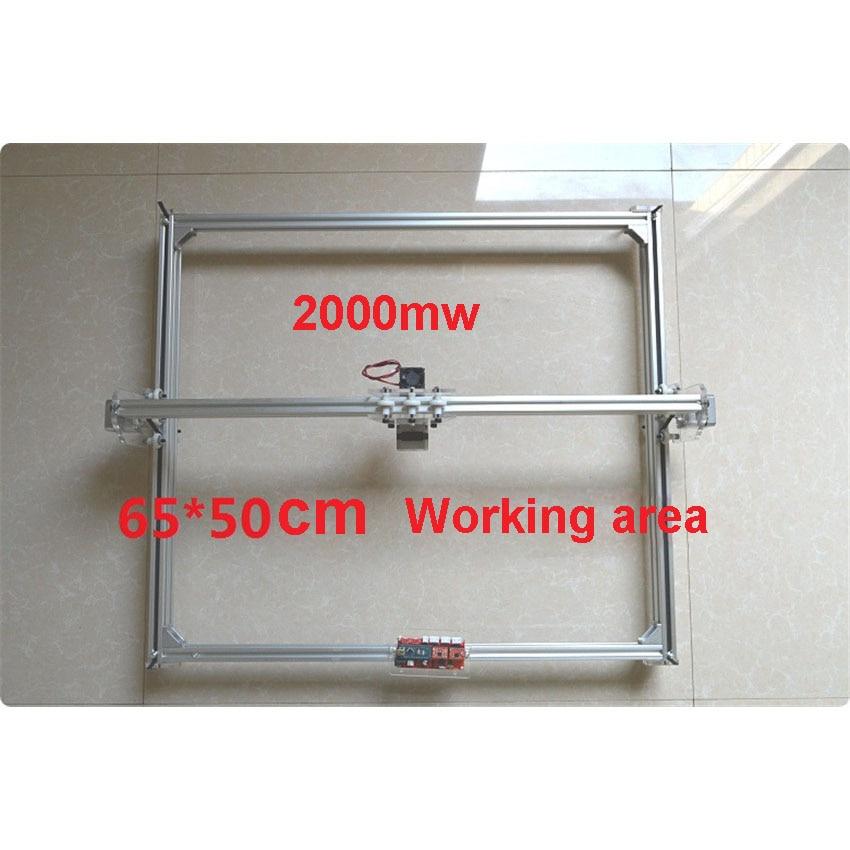 1PC 2000mw  DIY Laser Engraving Machine   Advanced Version CNC2 Axis Control Board   Working Area 65*50cm