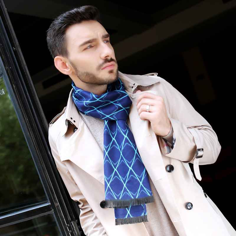 Fashion font b Tartan b font Scarves For Men Chic Brand Business Scarf Rhombus Cashmere Foulard