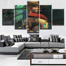 Modern Decorative HD Printed Canvas Game Painting Wall Art Framework For Living Room 5 Panel Jesse McCree Overwatch Pictures