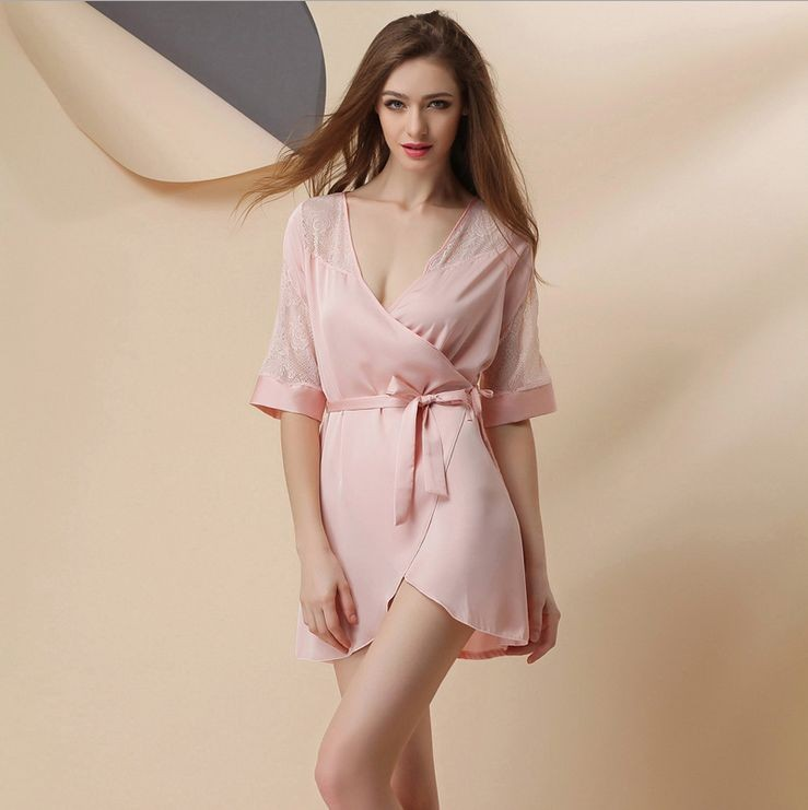 Women\'s Above Knee Polyester Sleep Lounge Robes RBS-G RB12 1