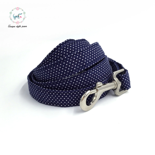 Blue Polka-Dot collar and leash set with bow tie. 2