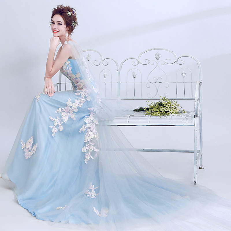 Medieval Renaissance Light Blue And White Gown Dress: Luxury Light Blue Embroidery Carnival Gown Women Medieval