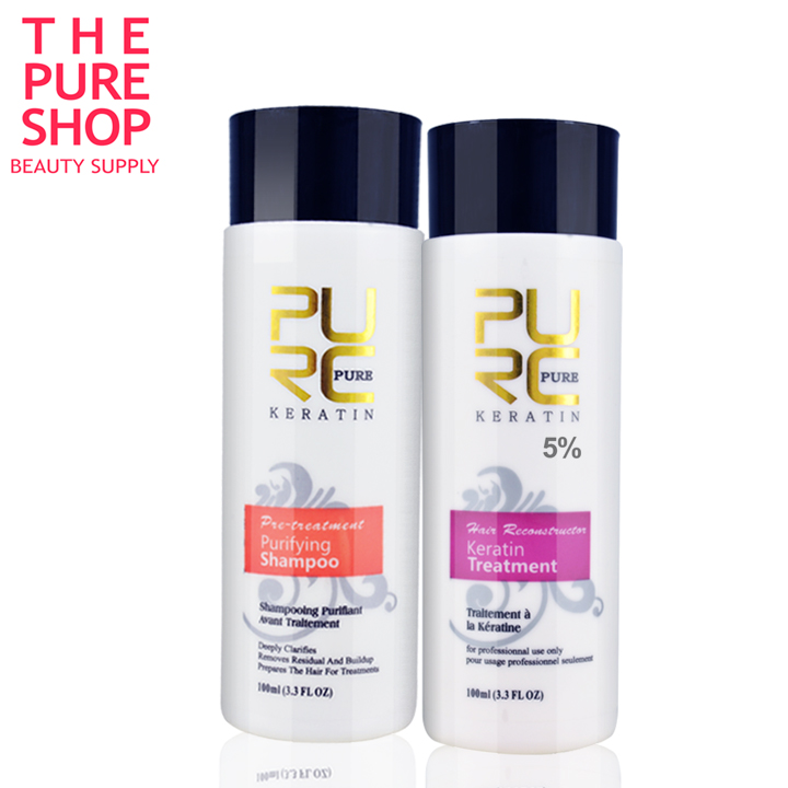 PURE Brazilian keratin hair straightening 100ml x 2 hair care products for Repair damaged hair and straighten hair care keratin