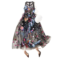 2018 Summer Women Sleeveless Dress Vest Long Dress Party Dress Sexy Perspective Embroidered Dresses
