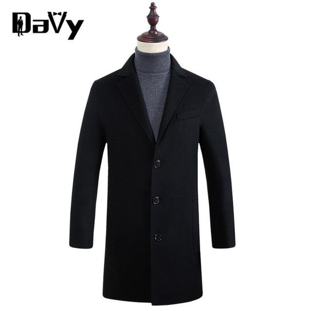 Customized Trench coat men new European winter men's woolen coat collar design long khaki outwear overcoat manteau homme