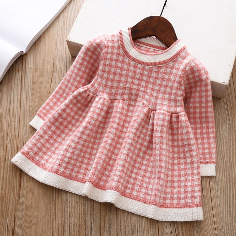 2020 Autumn Winter Baby Long Sleeve Plaid Sweater Dress For Baby Girls 1 Year Birthday Dress Infant Baby Wedding and Party Dress 5