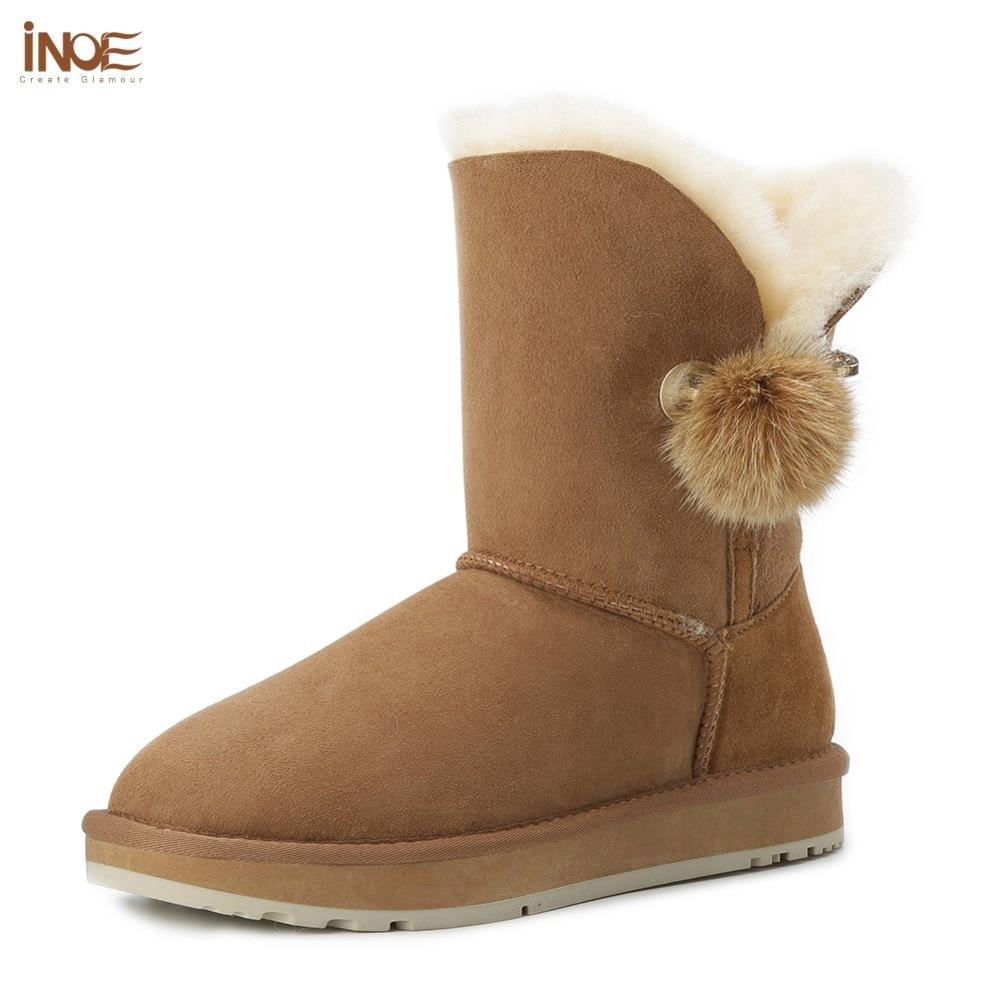 INOE kryształ Rhinestone Pom pom broszka kobiet buty zimowe buty futra lisa piłka zamszowe kożuch skórzane z wełny futro pokryte śnieg buty w Buty do połowy łydki od Buty na  Grupa 1