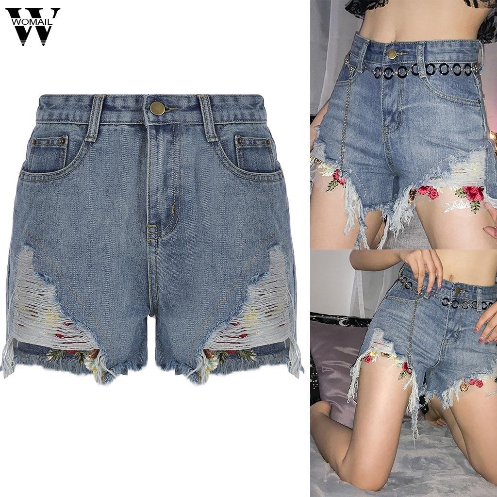 Womail Short Women Summer Sexy High Waist Pocket Denim Shorts For Women Mini Denim Short Slim NEW 2019 M522