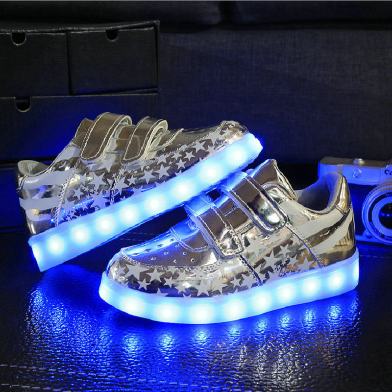 Hot sale children sneakers USB charging kids LED luminous shoes boys girls of colorful flashing lights sneakers size 26-35
