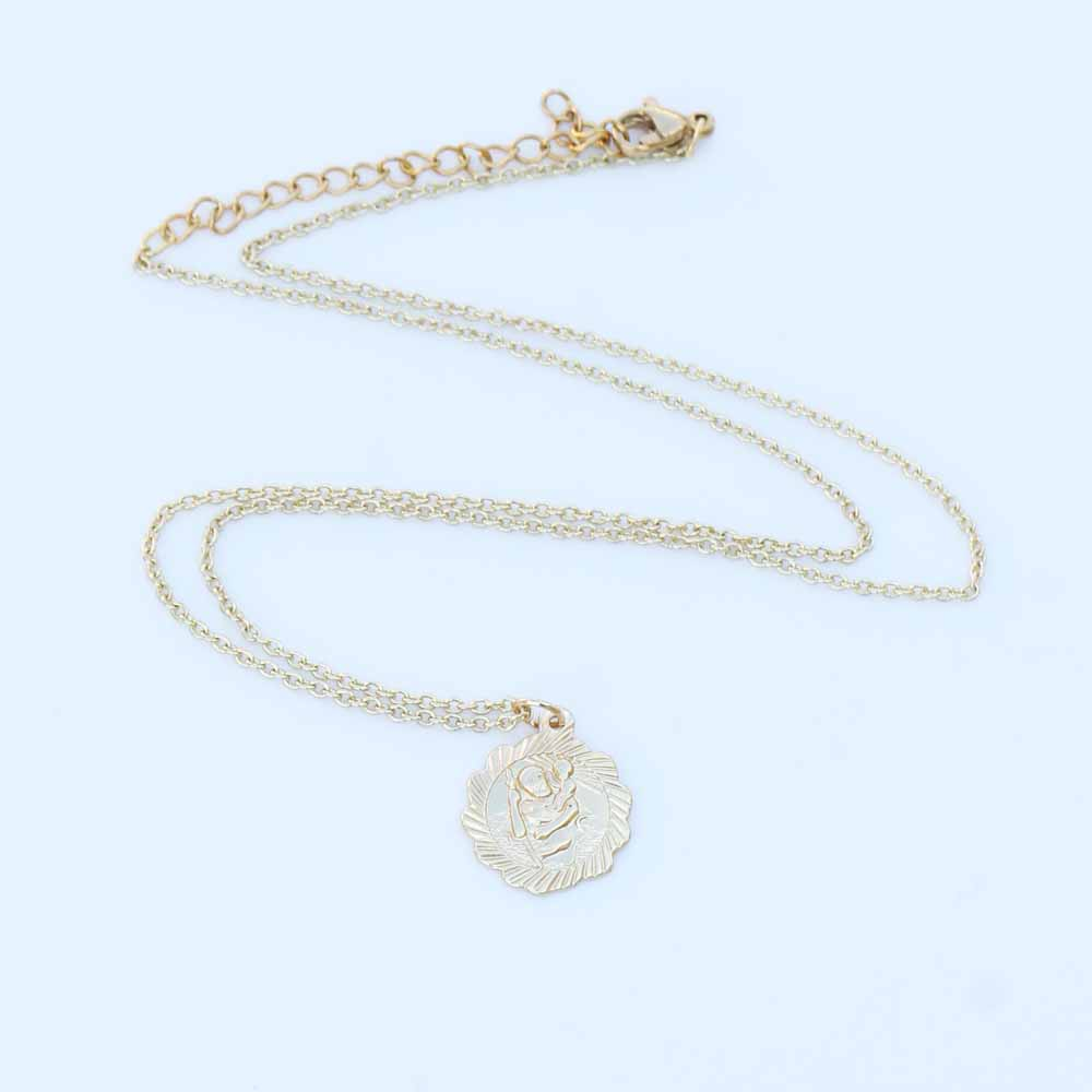 Saint Christopher Coin Necklace Ladies Medal Religious Jewelry