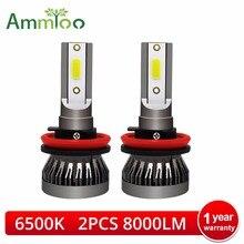 2 шт фар автомобиля мини лампа H7 светодио дный лампы H1 светодио дный H7 H8 H11 комплект фар 8000lm 9005 HB3 9006 HB4 для Авто 12 V светодио дный лампы 60 W 6500 K
