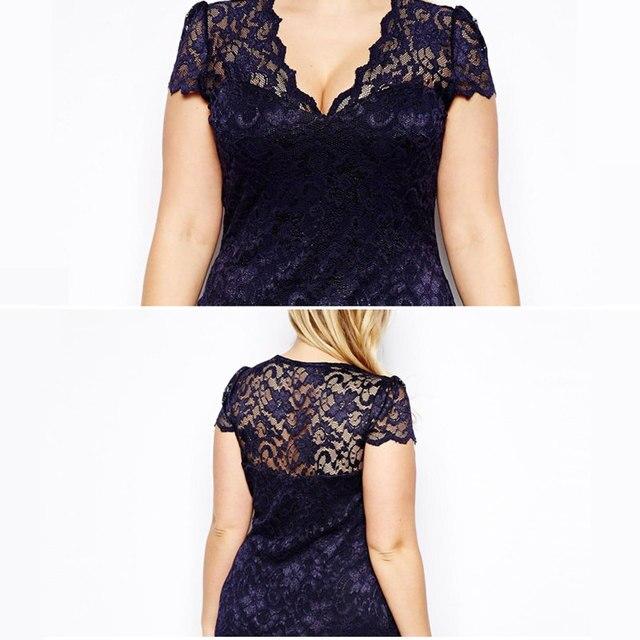 Plus Size Summer Dress 2017 Women Midi Party Dresses V Neck Floral Bodycon Pencil Lace Dress Office Dress Vestido De Festa