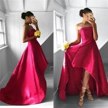 Strapless Hi-low Prom Dresses 2019 Luxury Satin Formal Dress Evening Wear  Cheap Under 100 2427d9352351