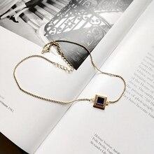 LouLeur gargantilla de circonio cuadrado para mujer, de Plata de Ley 925, collar dorado, cadena clavícula corta salvaje, colgante de circón, regalo