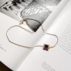 Image 1 - Louleur 925 スターリングシルバースクエアジルコンチョーカーネックレスゴールドファッション野生ショート鎖骨チェーンジルコンペンダントネックレスギフト