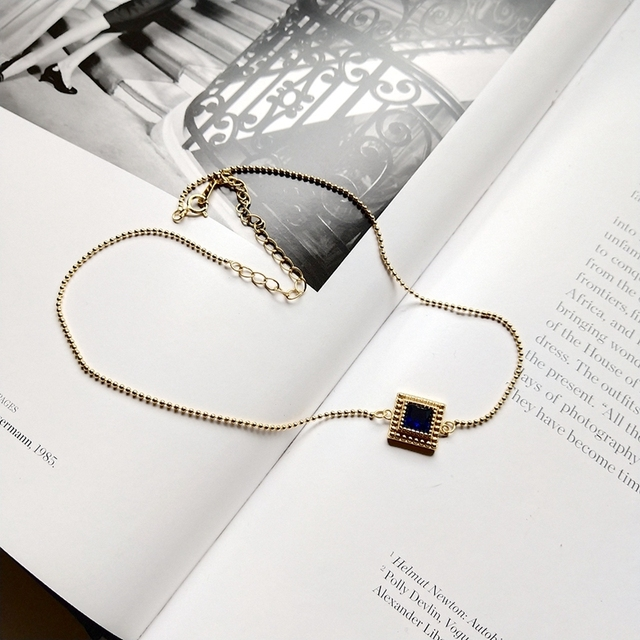 Louleur 925 スターリングシルバースクエアジルコンチョーカーネックレスゴールドファッション野生ショート鎖骨チェーンジルコンペンダントネックレスギフト