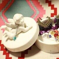 הגעה חדשה KEYAMA 1 יחידות מלאך לבן הקלה קופסות תכשיטי קרמיקה שולחן איפור חמוד girl'gifts קופסות פסולת דקורטיבי חדר שינה