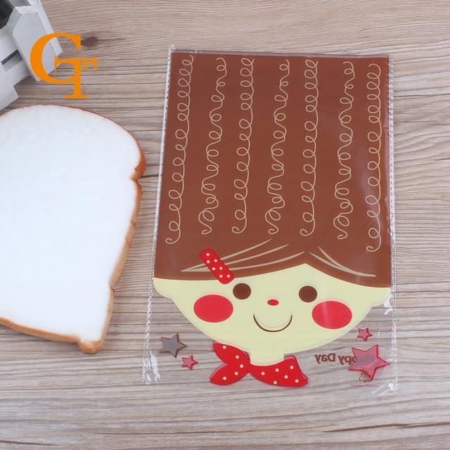 Lovely GIRL Rosto Impresso Cello & Doces Saco de plástico de embalagens 14 cm x 21 cm, 200 pçs/lote, toast food embalagem sacos de organza, malote dos doces