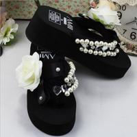 Fashion Hand Stitched DIY Creamy White Camellia Summer Beach Thick Soles Flip Flops Fast Delivery Free