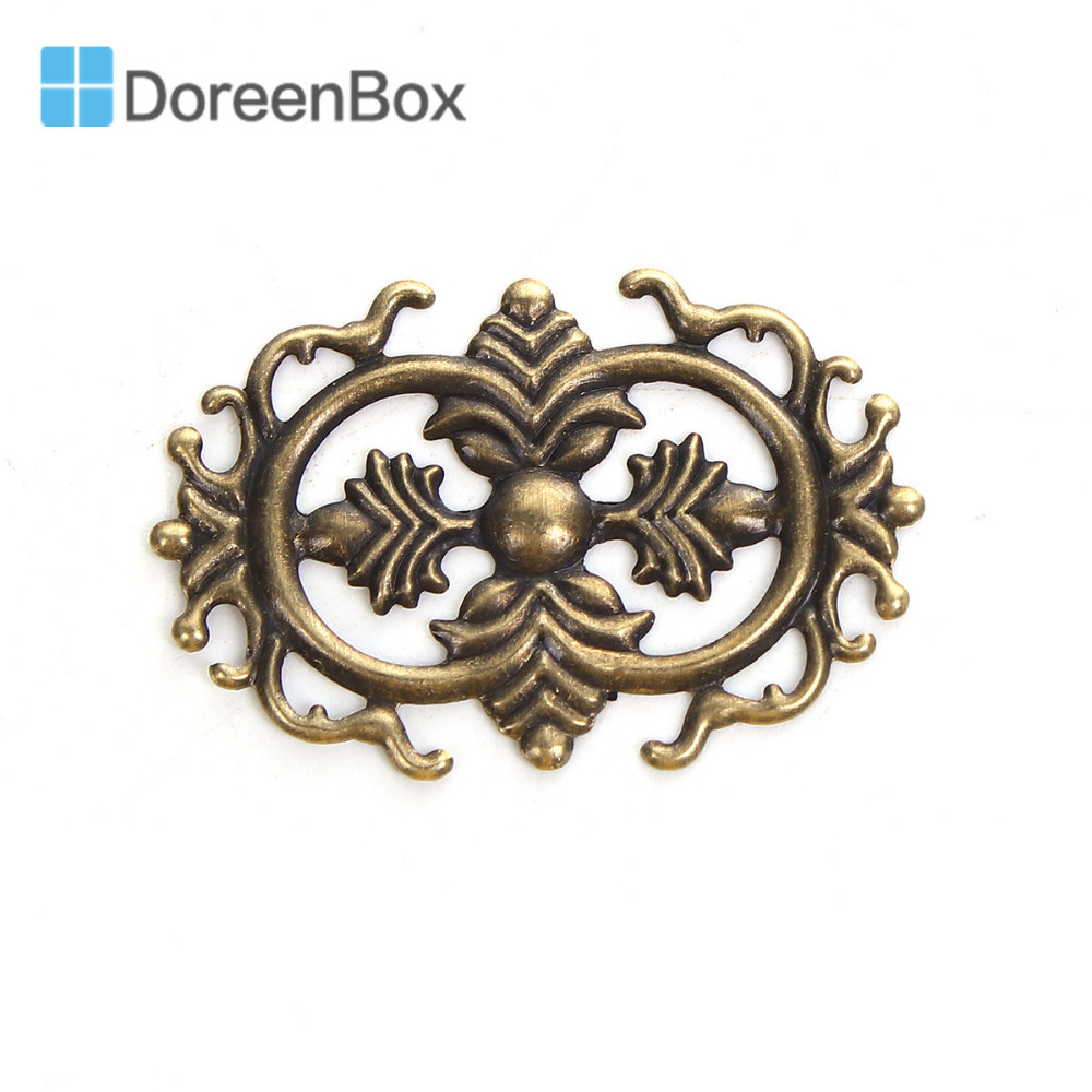 Doreen Box Zinc Based Alloy Embellishments Antique Bronze Filigree Carved DIY Jewelry Making 46mm(1 6/8) x 30mm(1 1/8), 50 PCs image