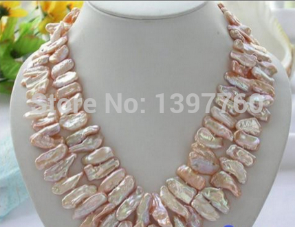 2ROW PINK DENS BIWA CULTURED PEARL NECKLACE