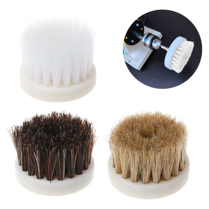 40mm Drill Powered Scrub Heavy Duty Cleaning Brush Head With Bristles For Cleaning Car Carpet Bath Dust White/Coffee/Brown