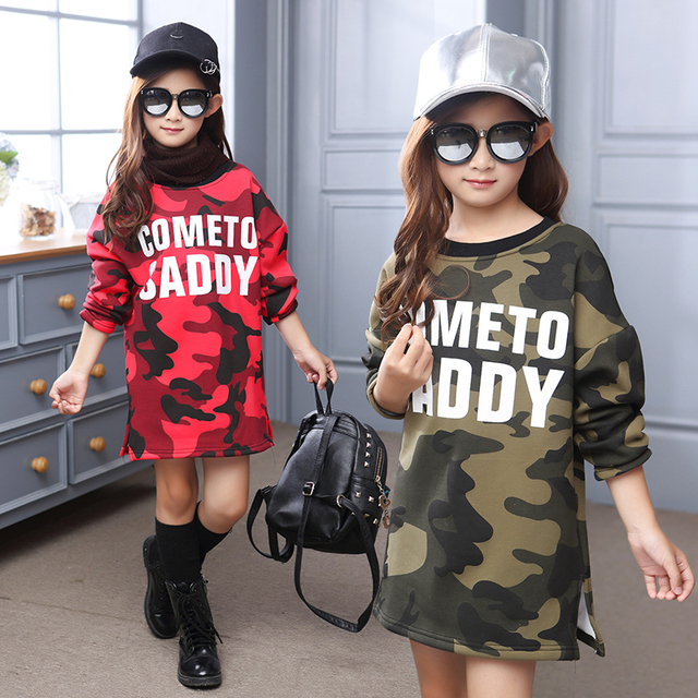 2016 winter new girls in the big children Korean fashion tidal camouflage velvet thickening girls playing skirt sweater