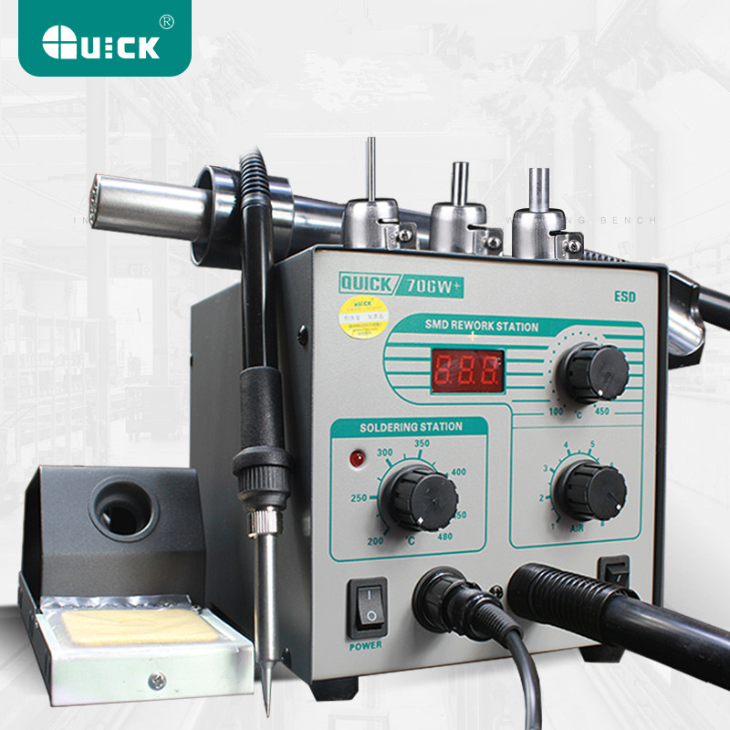 Tools : QUICK 706W  Digital Display Hot Air Gun Soldering Iron Anti-static Temperature Lead-free Rework Station 2 In 1 With 3 Nozzles