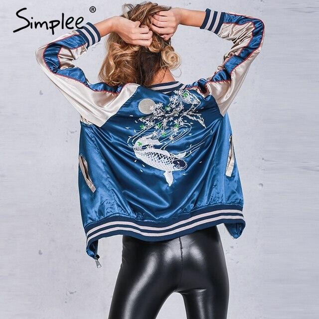 Simplee Осень атласная вышивка куртка бомбардировщика пальто 2016 зимняя куртка женщины Повседневная рыбы тонкий бейсбол куртка уличной sukajan