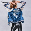 Simplee Autumn satin embroidery bomber jacket coat 2016 winter jacket women Casual fish thin baseball jacket streetwear sukajan