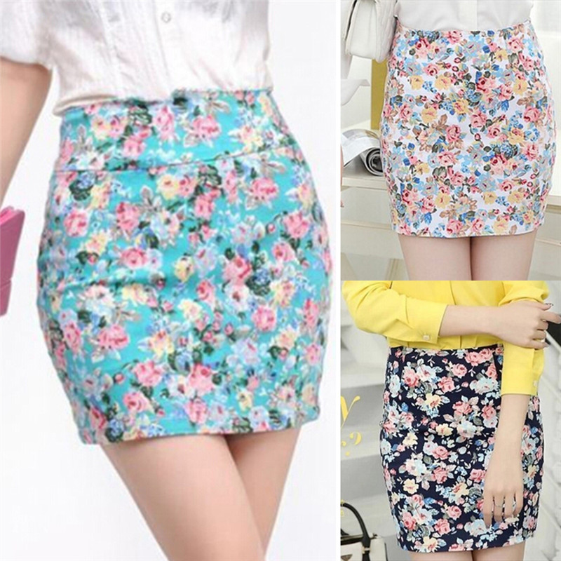 Floral Printed Women Skirt New Summer Girls Printing Short Skirts Sexy Hip High Waist Office Lady Skirts