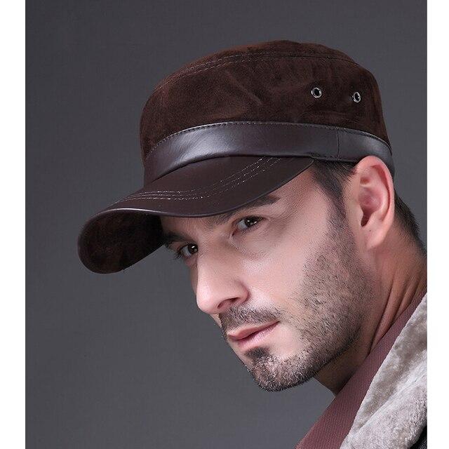 HL026 Новый натуральная кожа hat/cap марка бейсболки/шляпы овчины овец кожи Нубук кожа Улыбка замшевой шляпе/cap