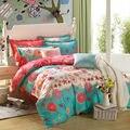 Clásico estilo calico amarillento verde oscuro 100% sábanas de algodón estampado de flores de hoja plana conjunto Doble Queen size juegos de cama ropa de cama