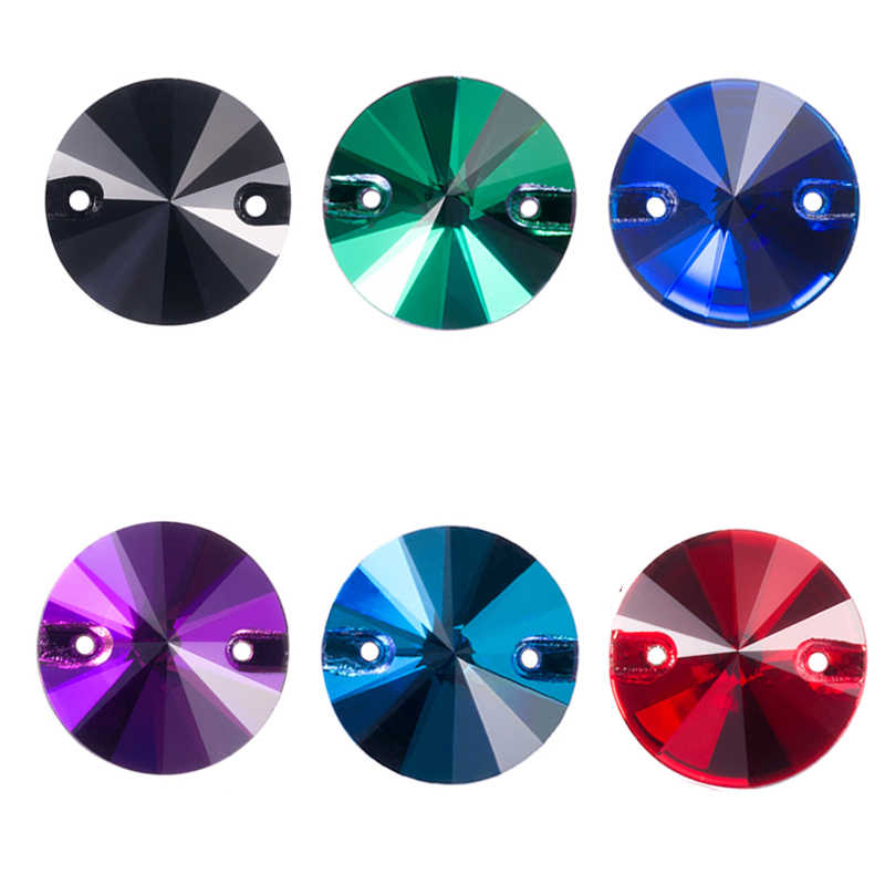 QIAO AAAAA Colorful 8-16mm Rivoli round shape crystal glass sew-on rhinestone for bags,garment,shoes,Wedding dress decoration